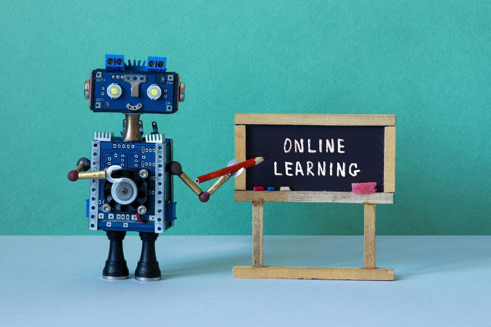 Online learning and distance education concept.